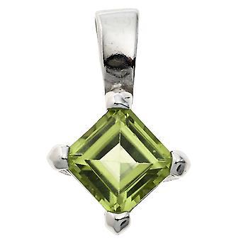 zarter Peridotanhänger Anhänger 925 Sterling Silber rhodiniert 1 Peridot grün