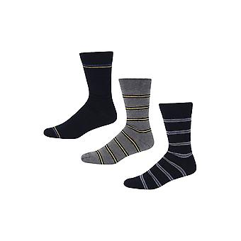Ben Sherman Men's 3 Pack Everyday Calf Socks Navy Grey Yellow Knights Chest