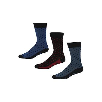 Ben Sherman mannen 3 Pack dagelijks kalf sokken vlekkerige Dominicks Bar