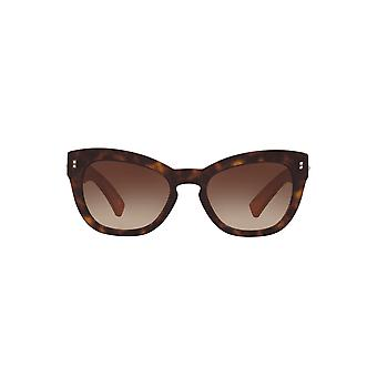 Valentino Studded Leather Temple Cateye Sunglasses In Havana Red