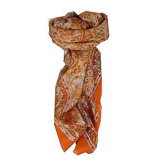 Amoreira seda tradicional lenço quadrado Vishwa terracota por Pashmina & seda