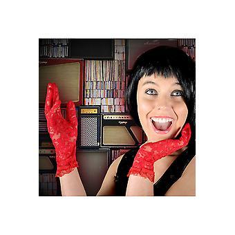 Handschoenen rood kant handschoenen