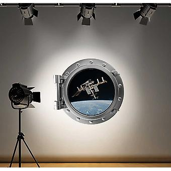 Full Colour Space Station Porthole Wall Sticker