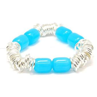 The Olivia Collection Candy Bracelet with Blue Beads, Elasticated, In Pouch