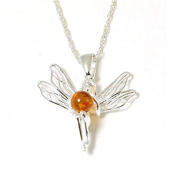 The Olivia Collection Sterling Silver Fairy Amber Pendant on 18 Inch Chain