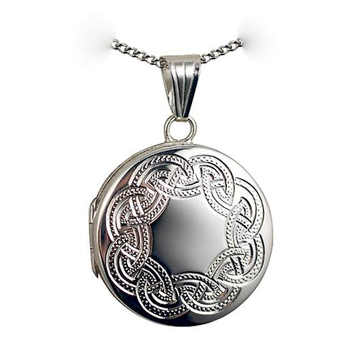 Silver 23mm round flat Celtic hand engraved Locket with a curb Chain 20 inches