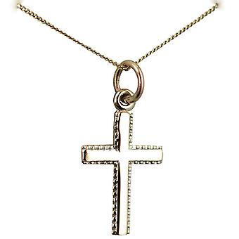 9ct Gold 17x11mm plain milled edge latin Cross with a curb Chain 16 inches Only Suitable for Children