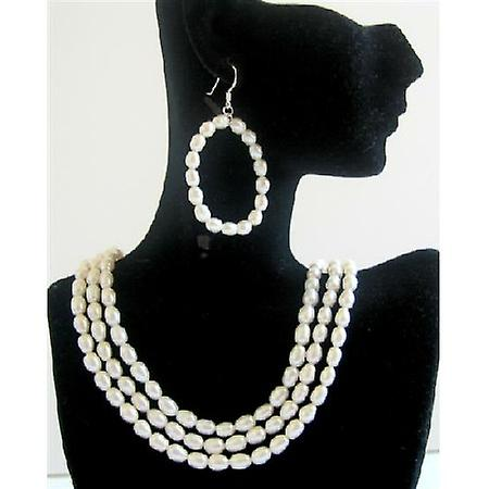Rice Freswater Pearls 3 Stranded Necklace Set Bridal Bridemaids Wedding Jewelry Set w/ Hoop Earrings