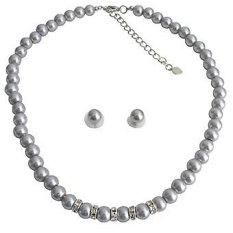 Vintage personlig brude smykker grå perle Rhinestones grå Stud øredobber Set