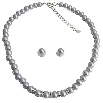 Vintage Personalized Bridal Jewelry Gray Pearl Rhinestones Gray Stud Earrings Set