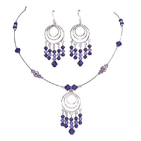 Purple Velvet & Violet Crystals Handcrafted Custom Jewelry Set
