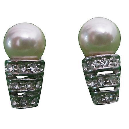 Cream Pearl Stud Earrings w/ Cubic Zircon Stones Embedded Sleek & Soothing Surgical Post Earrings