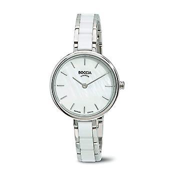 Petanque-ladies ' mother of Pearl Dial quartz, analog Display and titanium bracelet B 3245-01, color: white