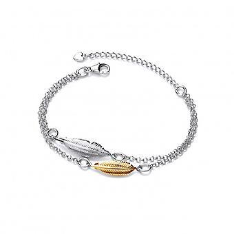 Cavendish Franse zilver en goud Vermeil dubbele veer geest armband