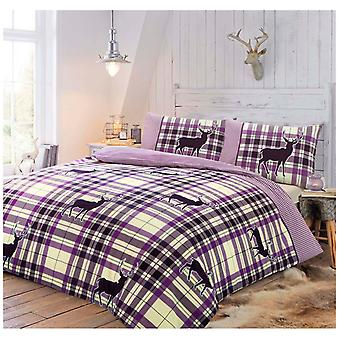 Stag Check Printed Christmas Reindeer Duvet Cover Fine Bedding Set All Sizes