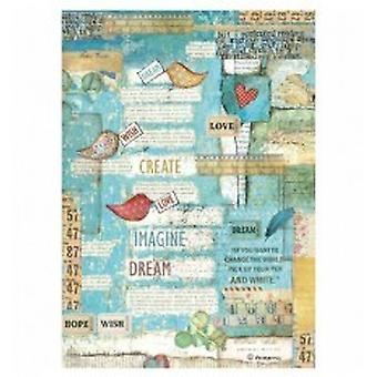Stamperia Rice Paper A4 Patchwork Writings Little Birds & Hearts (DFSA4333)