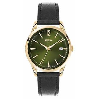 Henry London Chiswick sort læderrem grønne Dial HL39-S-0100 Watch