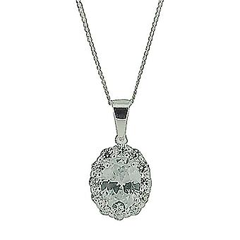 Sterling Silver Crystal Encrusted Oval Pendant on 16
