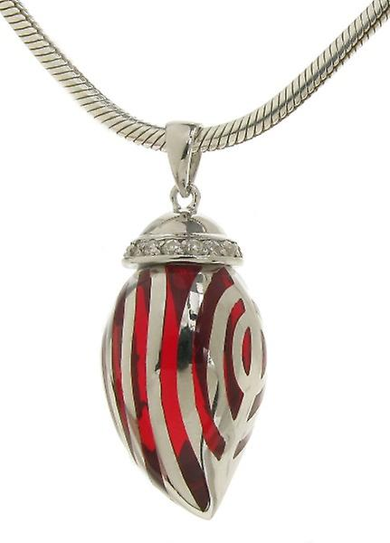 Cavendish French Sterling Silver and Red Resin CZ Topped Pendant