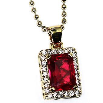 Emerald Cut Simulated Lab Ruby & Diamond Pendant and 30 inch Ball Chain - High Quality - Rick Ross Style - 20mm Pendant