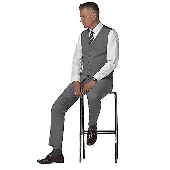 Gibson London Gibson London Grey Semi Plain Slim Fit Waistcoat