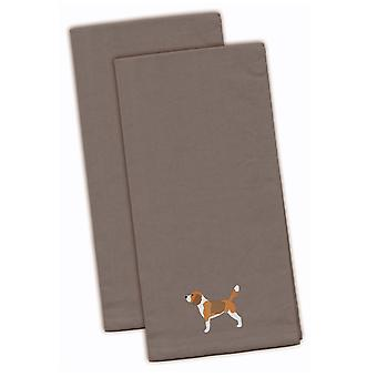 Carolines Treasures  BB3410GYTWE Beagle Gray Embroidered Kitchen Towel Set of 2