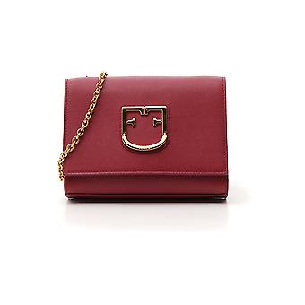 Furla Viva Burgundy Leather Shoulder Bag