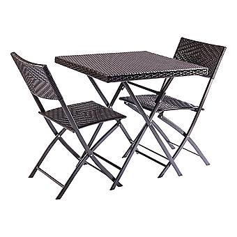 Trueshopping Honfleur Bistro Set, Folding Three Piece Rattan Effect Patio Set