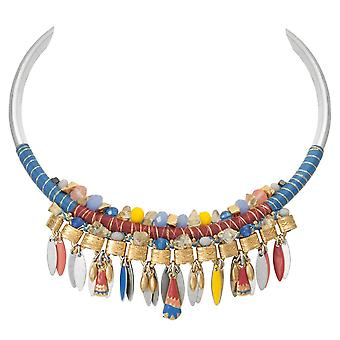 Eternal Collection Bohemia Blue Multi Semi Precious Beaded Statement Necklace