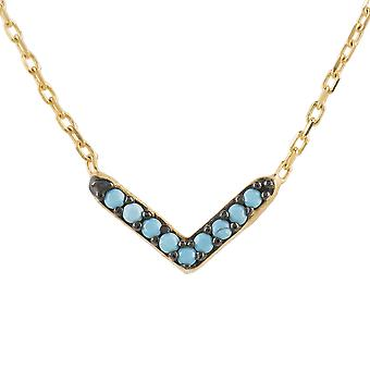 Latelita Small Arrow Pendant Necklace Sterling Silver Gold Blue Turquoise Line
