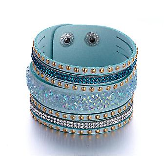 Bracelet adorned with Swarovski White and Blue Crystals and Turquoise Leather