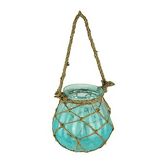 Netted Blue Glass Candle Lantern with Jute Rope Handle