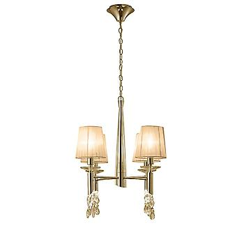 Mantra M3852FG Tiffany Pendant 4+4 Light E14+G9, French Gold With Soft Bronze Shades & Clear Crystal