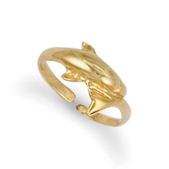 Jewelco London Ladies Solid 9ct Yellow Gold Dolphin Wrap Toe Ring