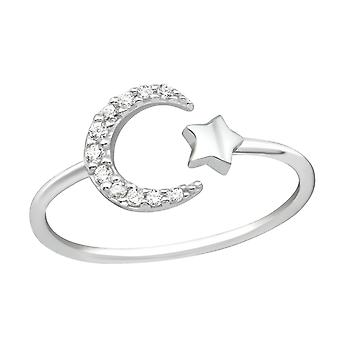 Moon And Star - 925 Sterling Silver Jewelled Rings - W36880X