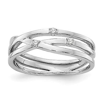 Polished Gift Boxed Rhodium-plated White Ice .03ct. Diamond Ring - .03 dwt - Size 6