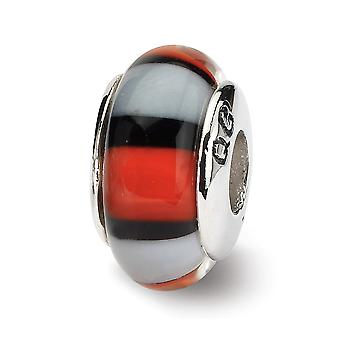 925 Sterling Silver Polished Antique finish Reflections Red White Murano Glass Bead Charm