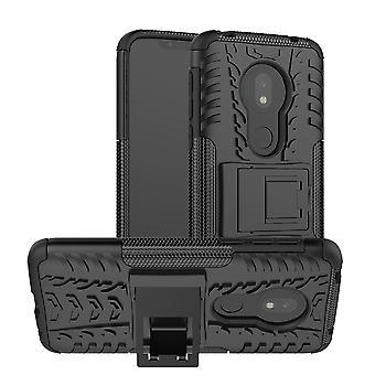 For Motorola Moto G7 Play hybrid veske 2Piece utendørs sort deksel deksel beskyttelse