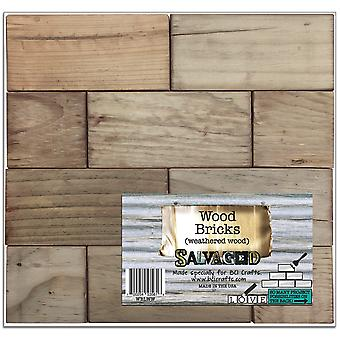 Salvaged Wood Blocks Brick Pattern-Weathered Wood WBLWW