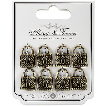 Craft Consortium Always & Forever Metal Padlocks 8/Pkg-Medium AFMCHRM4