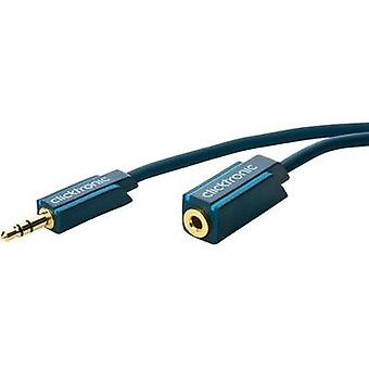 Jack Audio/phono Cable [1x Jack plug 3.5 mm - 1x Jack socket 3.5 mm] 5 m Blue gold plated connectors clicktronic