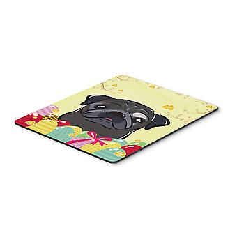 Black Pug Easter Egg Hunt Mouse Pad, Hot Pad or Trivet BB1945MP