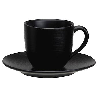 Avet Coffee Cup With Plate 120 Ml Black Set of 6