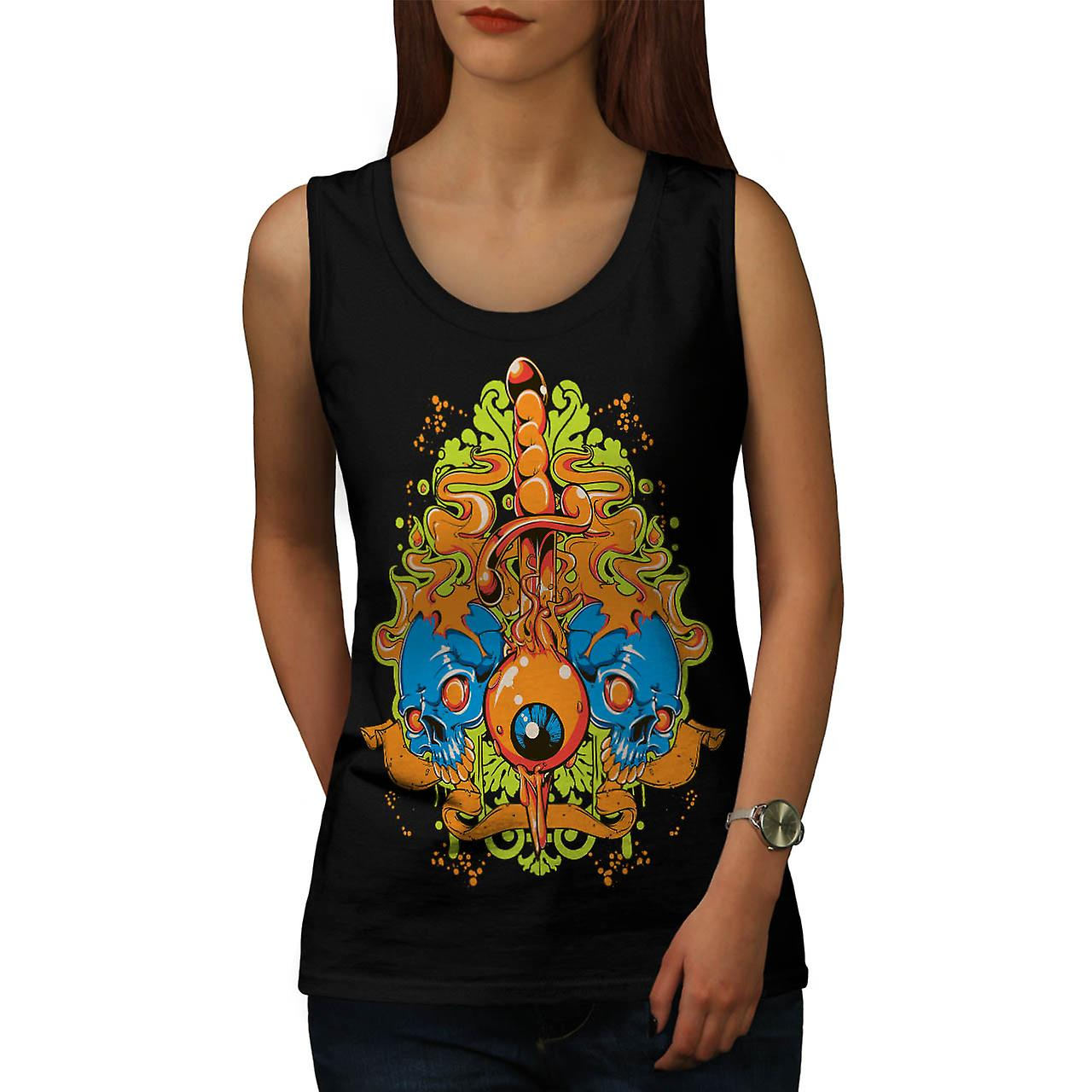 Evil Eye Knife Sword Skull Smile Women Black Tank Top | Wellcoda