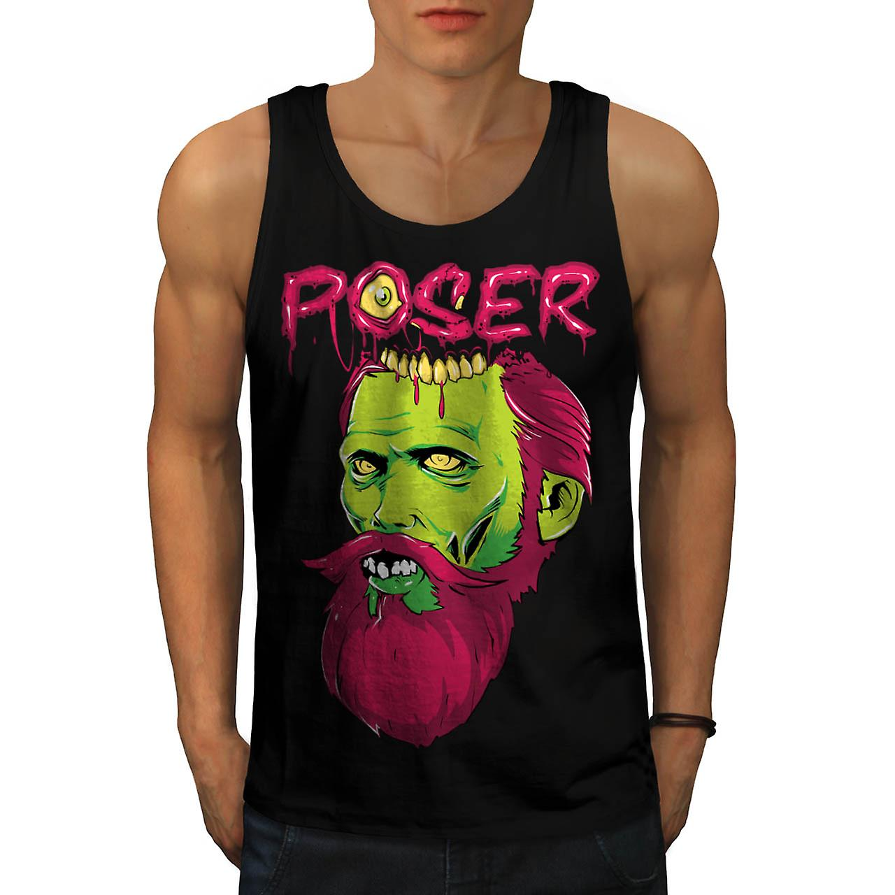 Poser Zombie Undead Dead Beard Men Black Tank Top | Wellcoda
