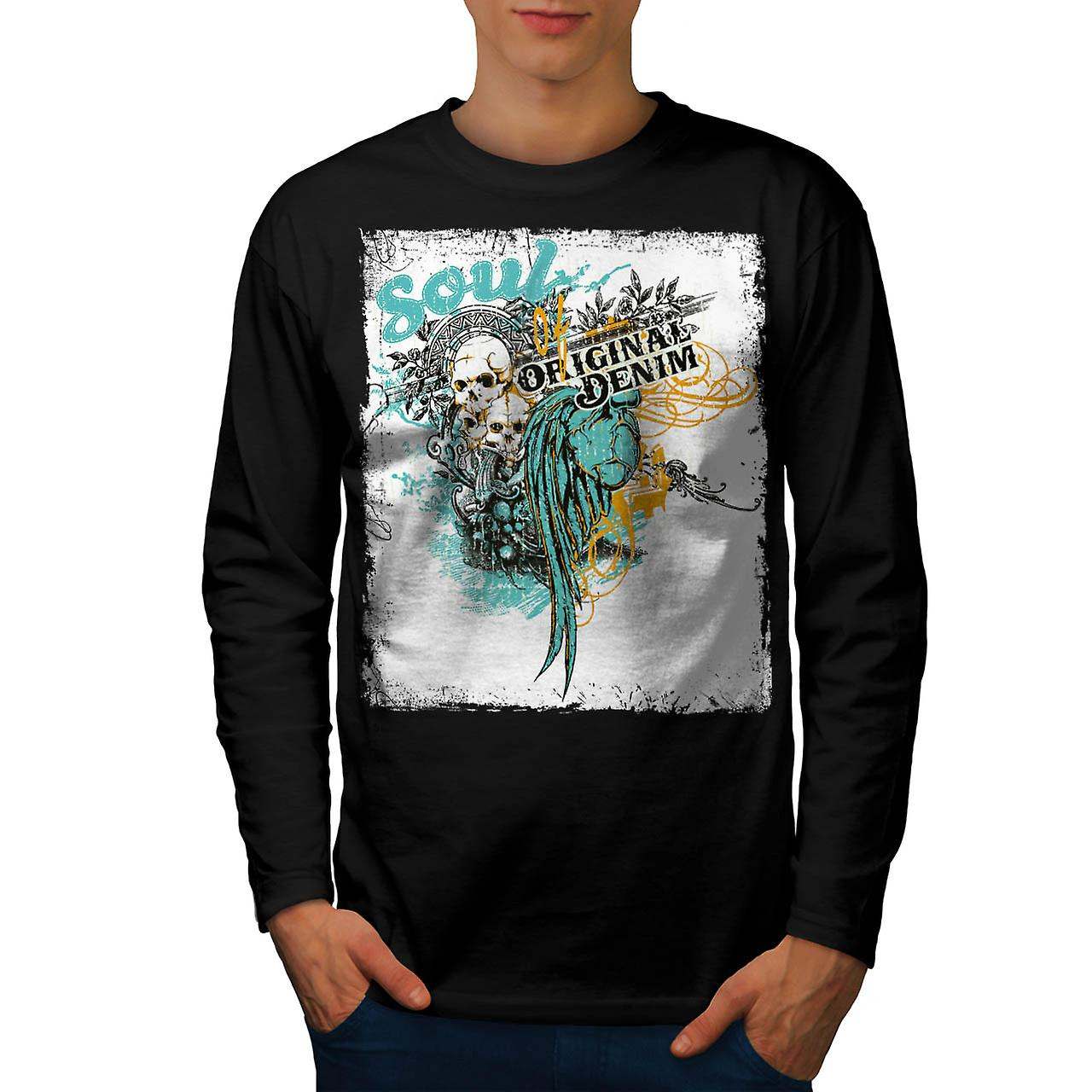 Soul Original Denim Cursed Hell Men Black Long Sleeve T-shirt | Wellcoda