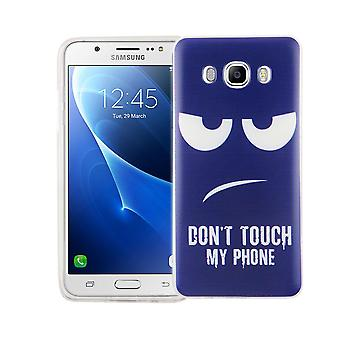 Cell phone case for Samsung Galaxy J5 2016 cover case protective bag motif slim silicone TPU dont touch my Phone Blau