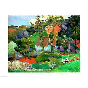 Landscape at Pont Aven 1888 Poster Print by Paul Gauguin