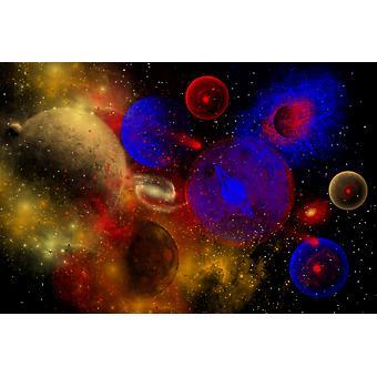 Вселенная является местом чудесных цветов и форм с его разнообразием различных звезд планет и других объектов Плакат Печать