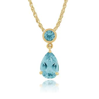 Gemondo 9ct Yellow Gold 1.80ct Blue Topaz Pendant on Chain